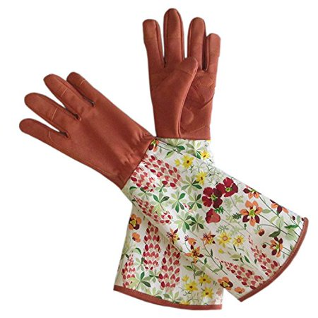 Leather Rose Gardening Gloves Thorn Proof Pruning Gloves with Long Polyester Print Cuff to Protect Your Arms Until the Elbow