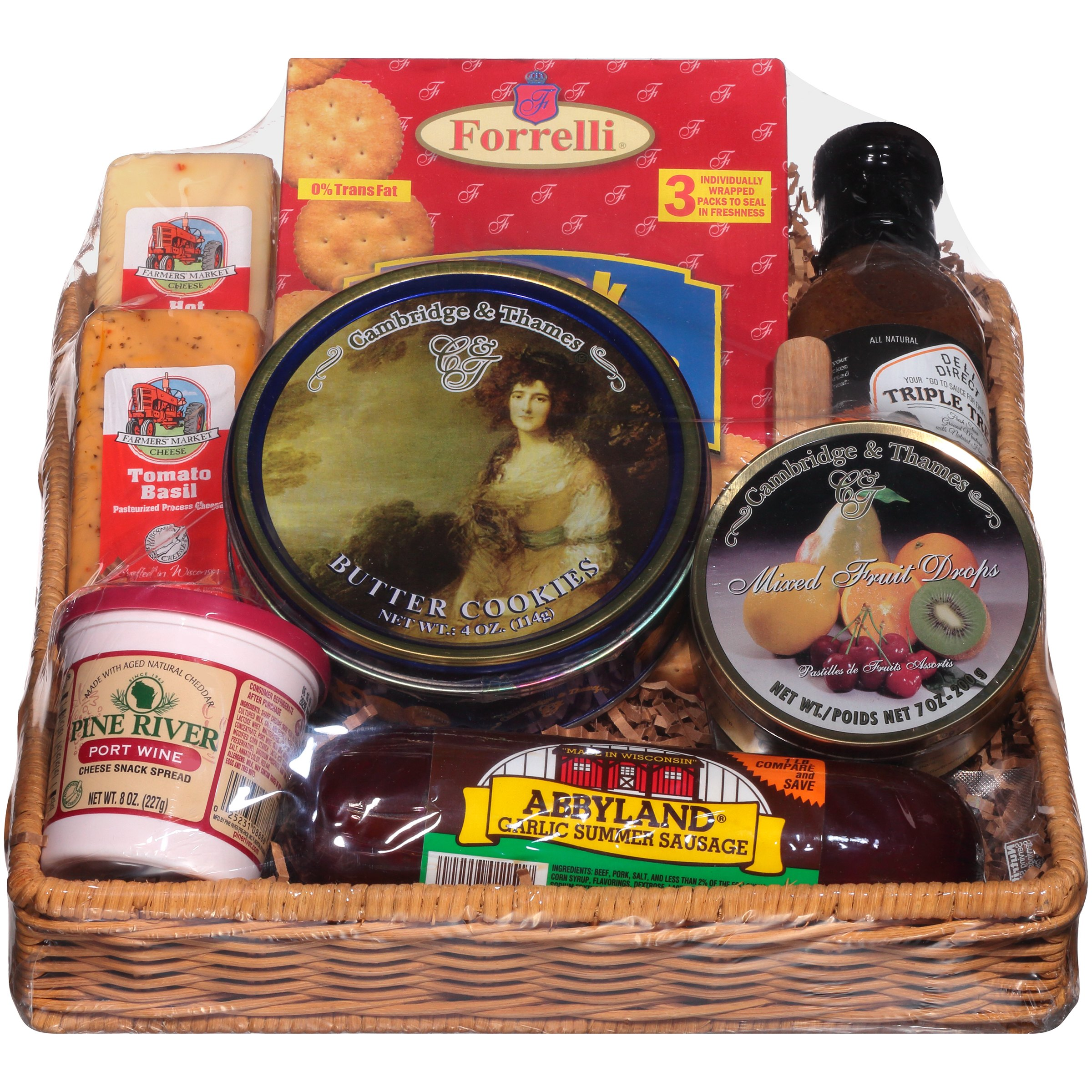 Deli Direct Wisconsin Cheese & Sausage Medium Gift Basket 9 pc Basket