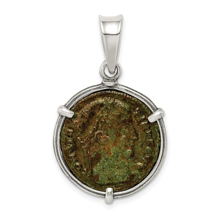 925 Sterling Silver Antiqued Roman Bronze Constantine I Coin Pendant for Necklace