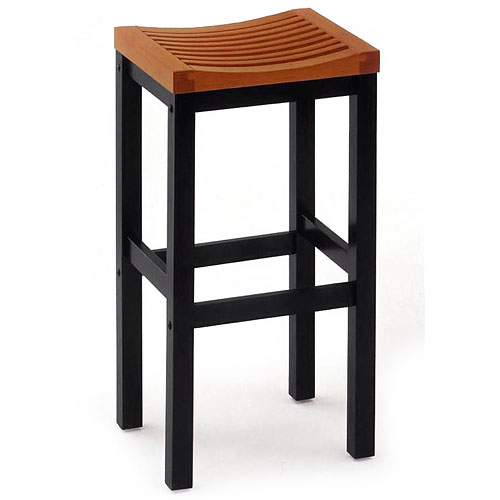 "Home Styles Solid Wood Bar Stool 29"", Black and Oak"