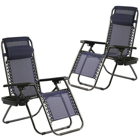 Zero Gravity Chairs Set of 2 Patio Adjustable Dining Reclining Folding Chairs ()
