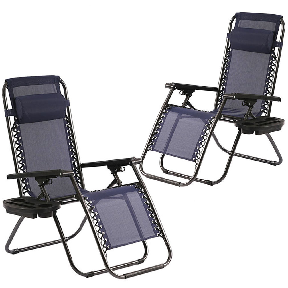 Zero Gravity Chairs Set of 2 Patio Adjustable Dining Reclining Folding Chairs