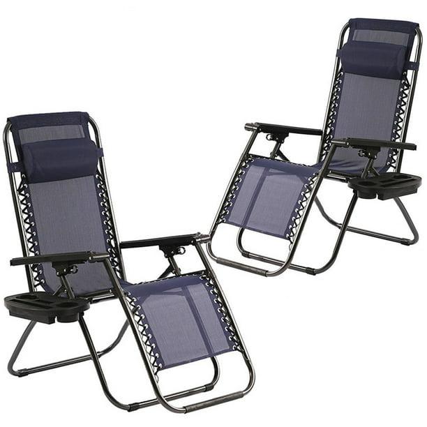 Zero Gravity Chairs Set Of 2 Patio Adjustable Dining Reclining Folding Chairs Walmart Com Walmart Com