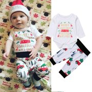 2Pcs Baby Boys Girls Christmas Outfits Clothes,Infant Long Sleeve Romper Tops+Cartoon Car Pants Clothing Set
