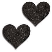 Black Black Glitter Heart Pasties iCollection 31517 Black