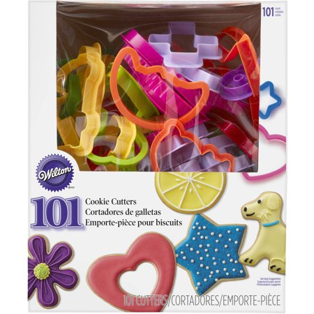 Wilton Plastic Cookie Cutter Set, 101-Piece Kit, ABC, 123, Shapes Awareness Ribbon Cookie Cutter