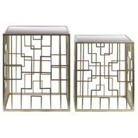 2-Pc Nesting Accent Table Set in Metallic Silver Finish