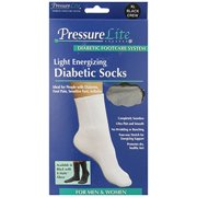 Activa Pressure Lite Light Energizing Diabetic Crew Socks Black X Large
