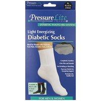 Activa H6163 PressureLite Light Energizing Diabetic Socks Crew Length - Size- Large Color- Black