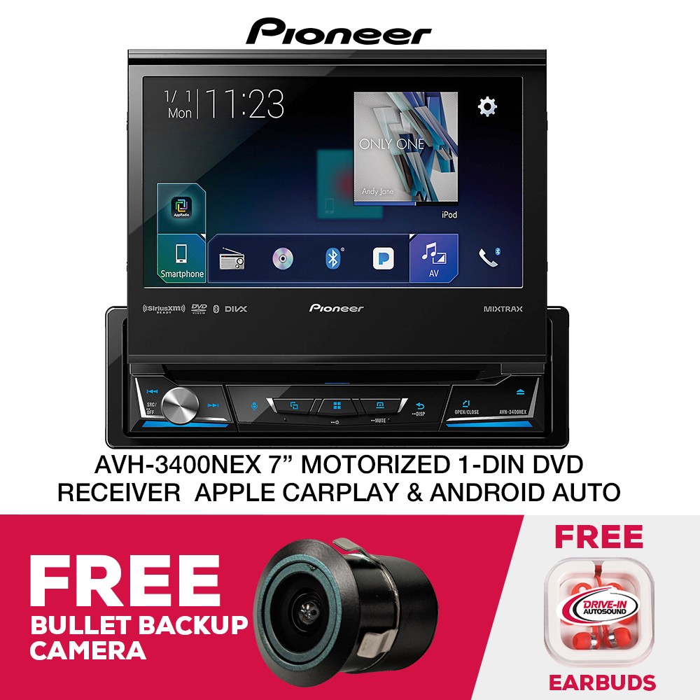 "Pioneer AVH-3400NEX 7"" Motorized Single DIN Multimedia DVD Receiver with Built-in Bluetooth and AppRadio Mode+ and Free Bullet Backup Camera"