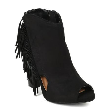 565f26ed225 Qupid CA46 Women Suede Peep Toe Tassel Fringe Cut Out Chunky Heel Platform  Ankle Bootie - Walmart.com