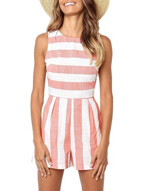 Women Striped Jumpsuit Sleeveless Short Pants Casual Printed Romper With Pockets