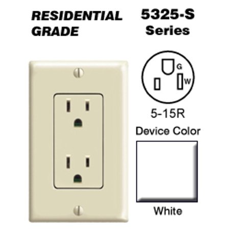 Leviton 5325-SW Decora Duplex Receptacle Residential Grade 5-15R 15A 125V Quickwire Push-In and Side Wired - White