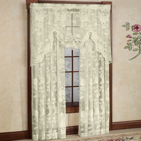 Lace Window Curtains (Abbey Rose Floral Pattern High Gauge Lace Curtain Single Panel 50