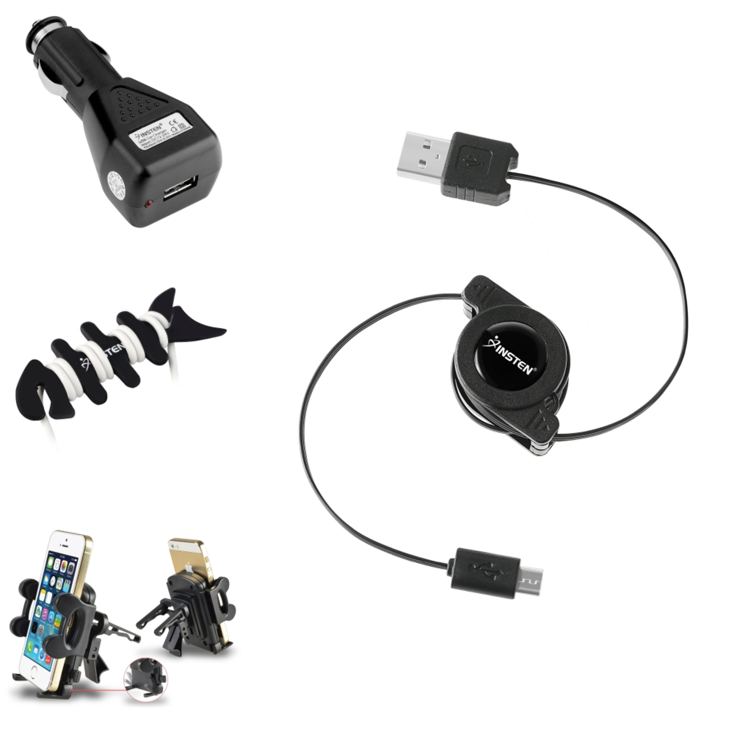 Insten Mount + Black Car Charger + Cable USB Cable + Fishbone Wrap For Samsung Galaxy S4 i9500 S3