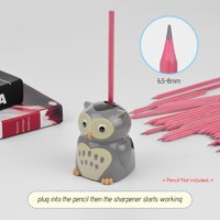 Cute Electric Pencil Sharpener School Supplies Sharpen Pencil Knife Safe Fast Automatic Sharpeners for Students Kids Cartoon Owl