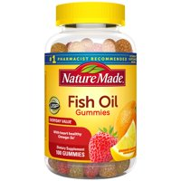 Nature Made Fish Oil Omega-3 Gummies, 100 Count with 57 mg of Heart Healthy Omega-3s EPA and DHA