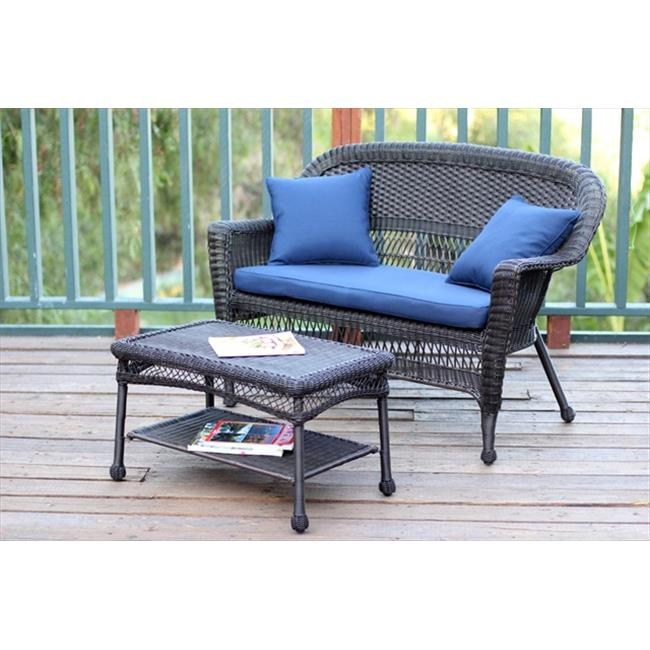 Resin Wicker Patio Loveseat with Cushion & Coffee Table Set by Jeco