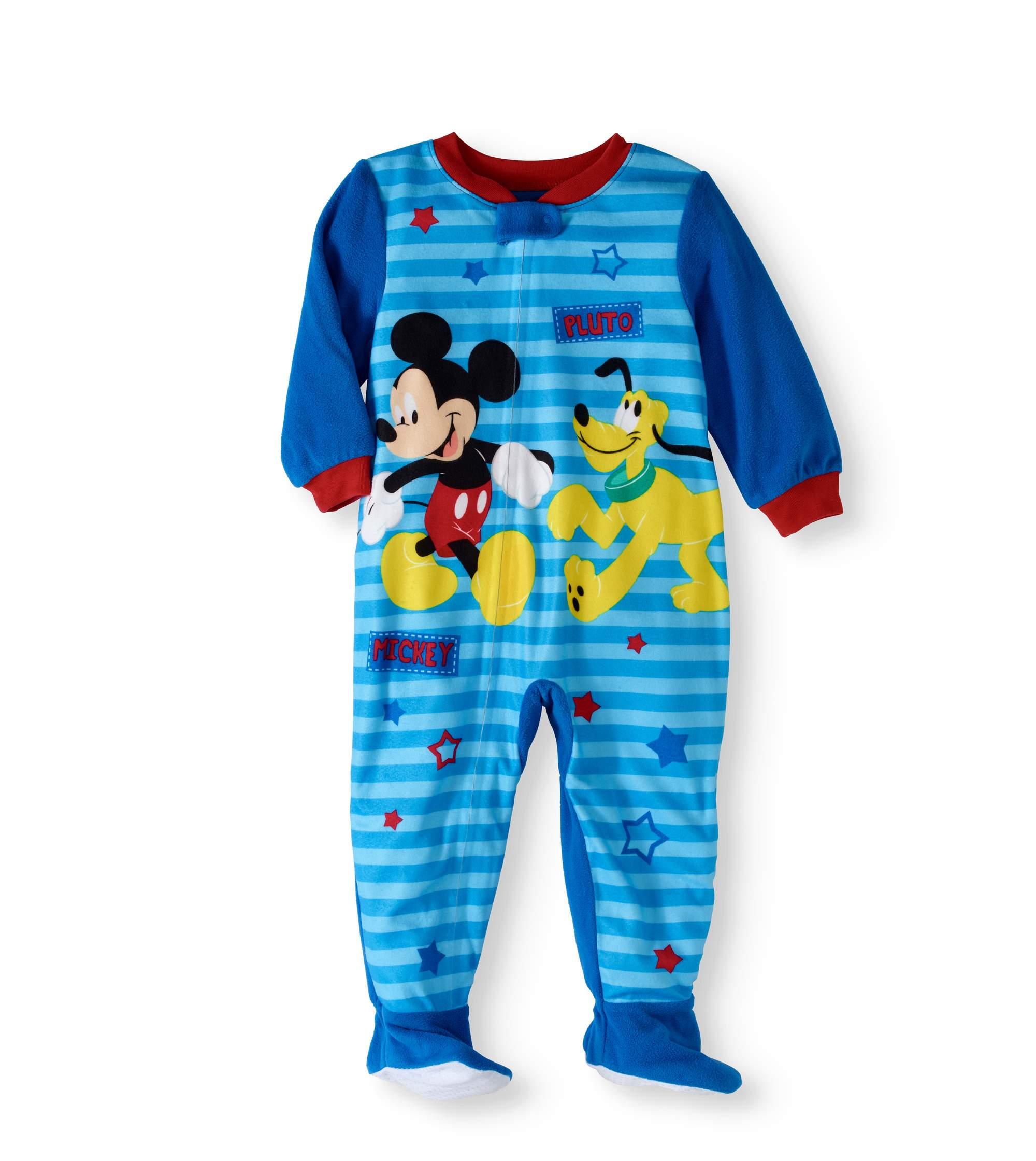 Newborn Baby Boys' Micro Fleece Footed Pajama