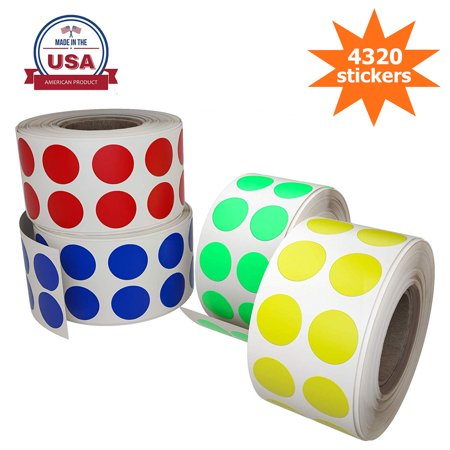 Color labels dots stickers 13mm 0.50 inch - 4 rolls - 4320 by Royal Green - Colored Dot Stickers