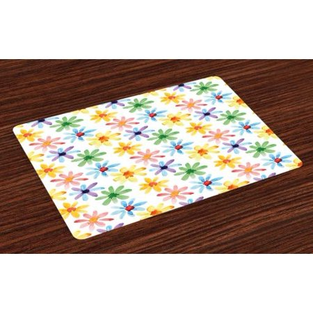 Floral Placemats Set of 4 Colorful Flowers Spring Season Nature Garden Theme Watercolors Hand Painted Artwork, Washable Fabric Place Mats for Dining Room Kitchen Table Decor,Multicolor, by Ambesonne - Hand Painted Dining Room