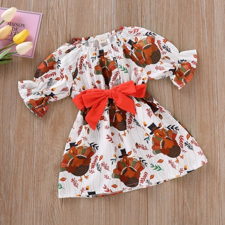 Cute Newborn Kids Baby Girl Thanksgiving Cartoon Turkey Party Tutu Dress Outfits (Dress Baby Clothes)