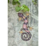 "Sunjoy 110311002 Gecko 23"" Hand-Painted Iron and Acrylic Outdoor Wall Decor, Pink and Purple"