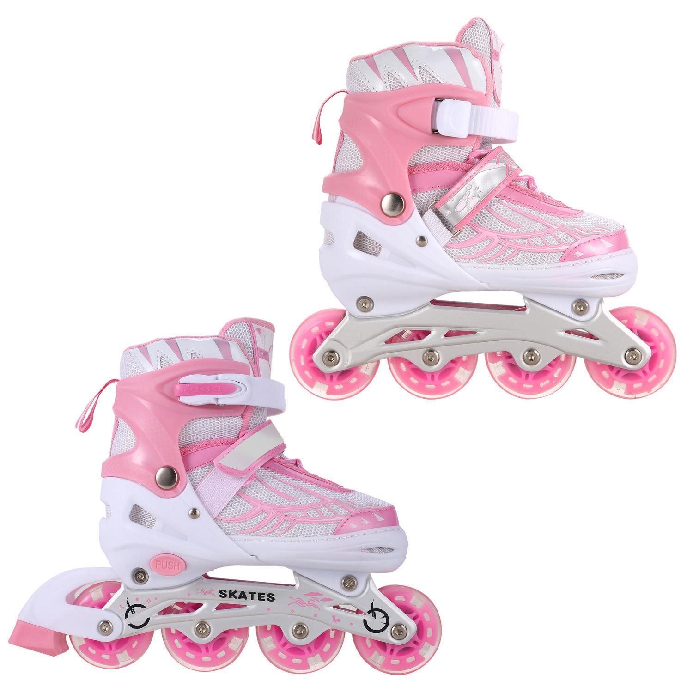 Hot! Adjustable Inline Skates with Light up Wheels Beginner Rollerblades Fun Illuminating Roller Skates for Kids Boys and girls Hifahion