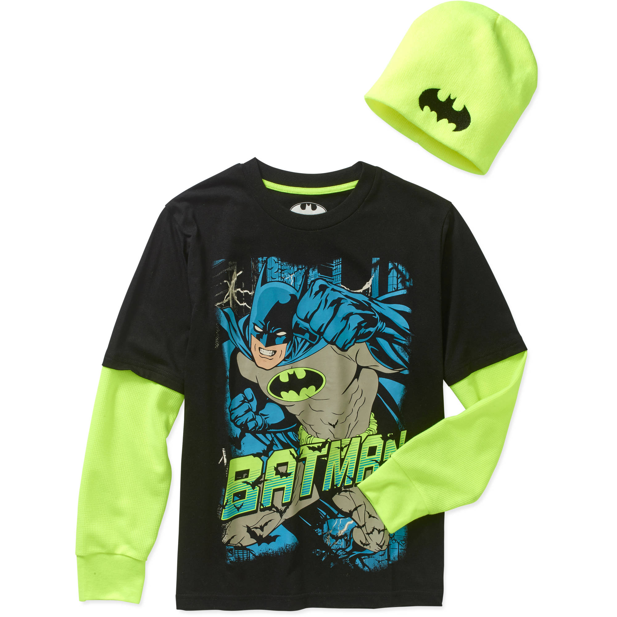 DC Comics Batman Boys' 2fer Graphic Tee with Beanie Combo