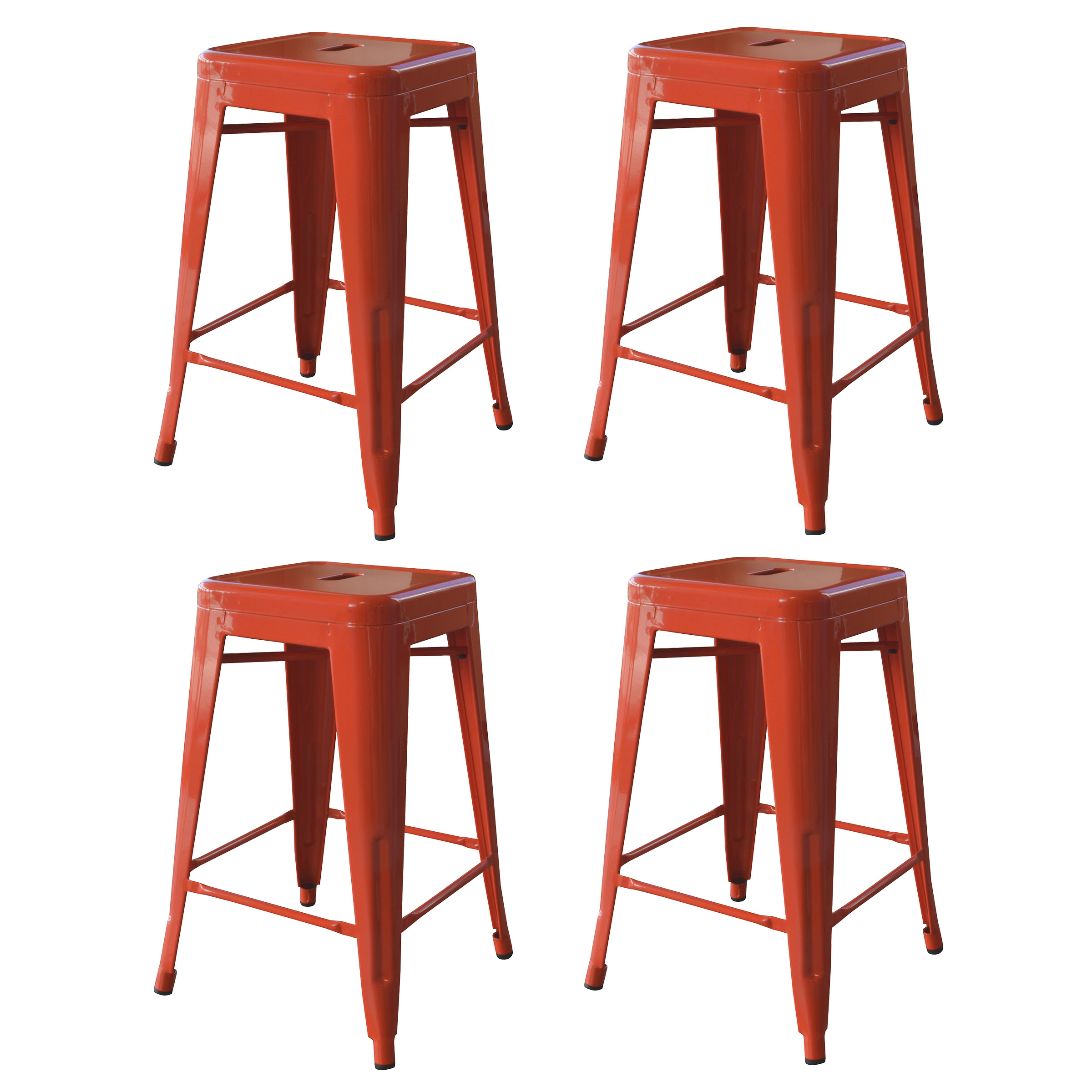 Amerihome Loft 24 Metal Bar Stool Orange Set Of 4 Walmartcom