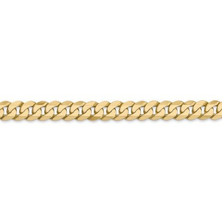 14K Yellow Gold 6.1mm Solid Polished Flat Curb Chain Anklet 9 Inch - image 2 de 4
