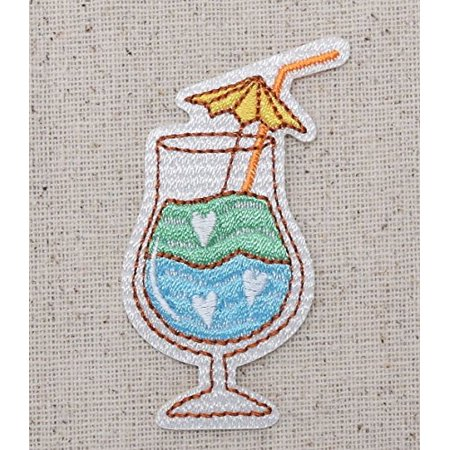 Tropical Drink w/Umbrella - Blue and Green - Alcoholic Cocktail Beverage - Iron on Embroidered Patch