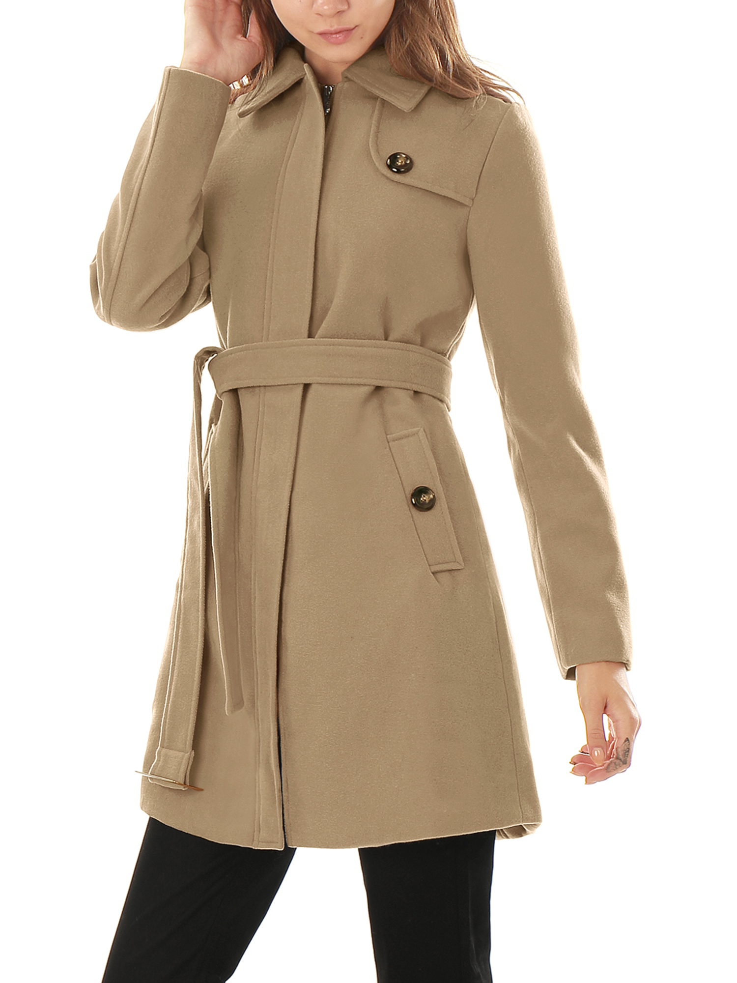 Women's Convertible Collar Long Sleeves Belted Worsted Coat Beige (Size M / 8)