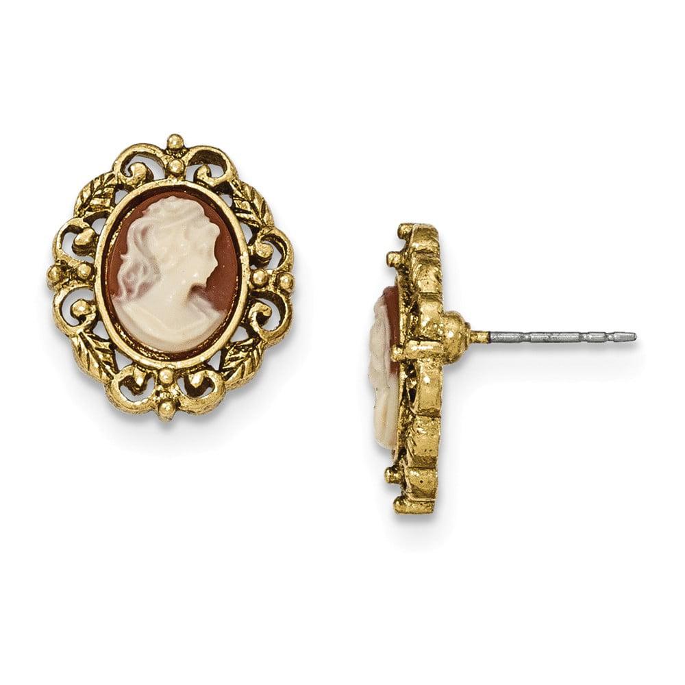 Gold-tone Filigree Epoxy Cameo Post Earrings