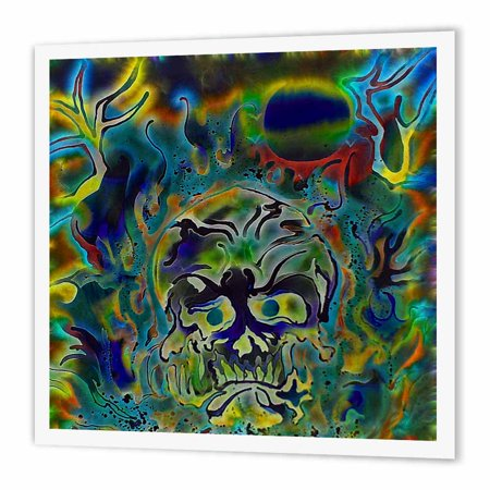 3dRose Trippy Colors Fire Skull Goth Fantasy Abstract Digital Art, Iron On Heat Transfer, 8 by 8-inch, For White Material - Goth Fantasy Art
