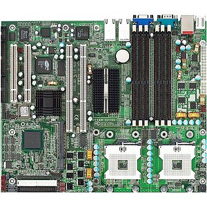 TyanS2735G3NR-8MDual Xeon socket 604 motherboard, Intel E7501 server chipset, FSB 533/400, 6 DDR DIMMS slots, 2 PCI, 2 PCI-X slots, ATA100, 2xSATA(RAID 0,1). On-Board 2x Gigabit LAN and 1 x