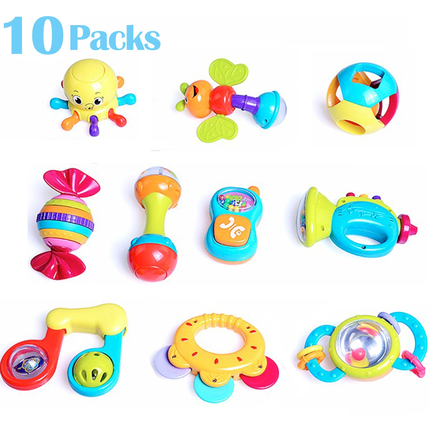 10 Baby Rattles Teether, Ball Shaker, Grab and Spin Rattle, Musical Toy Gift Set for Baby Infant, Newborn by Oak Leaf