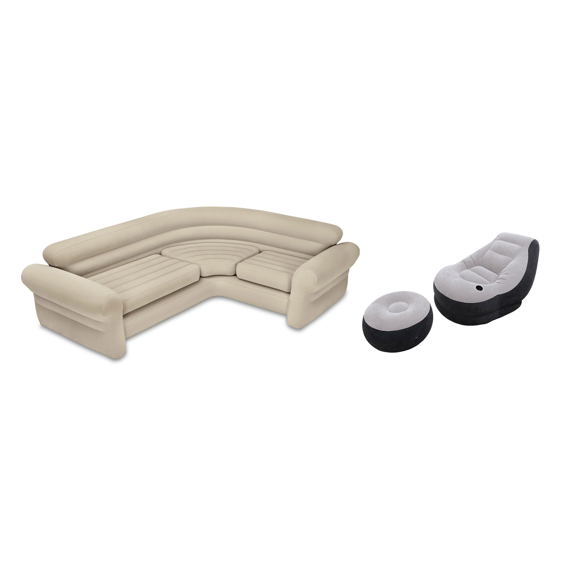 Intex Inflatable Corner Living Room Neutral Sectional Sofa & Lounge Chair Set by Intex