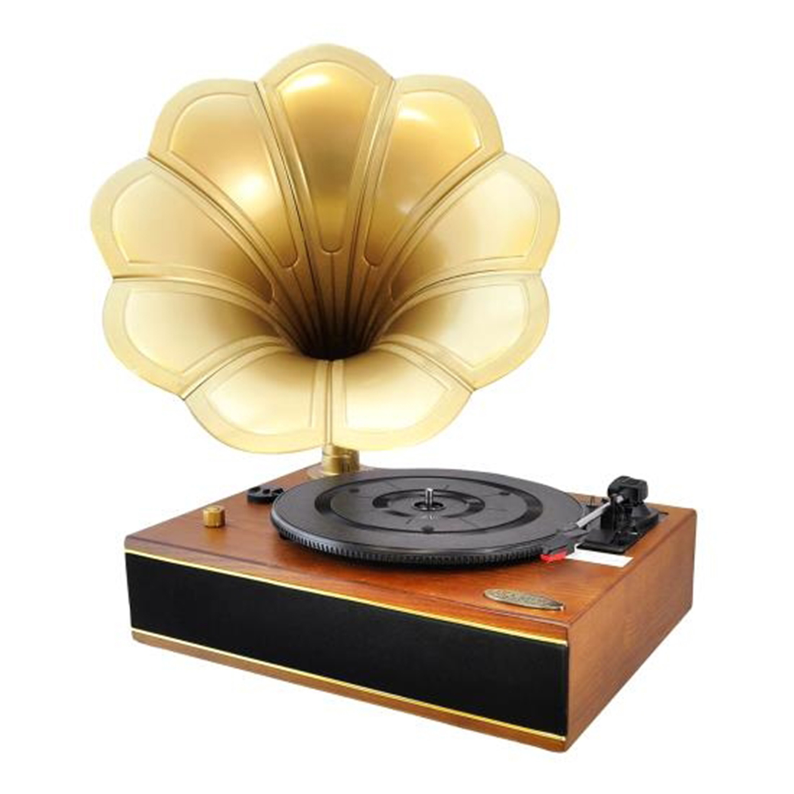 Vintage Classic Style BT Turntable Gramophone Phonograph Vinyl Record Player with Vinyl-to-MP3 Recording