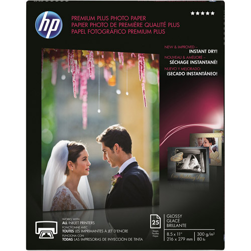 "HP Premium Plus Photo Paper, Glossy, 8.5"" x 11"", 25pk"