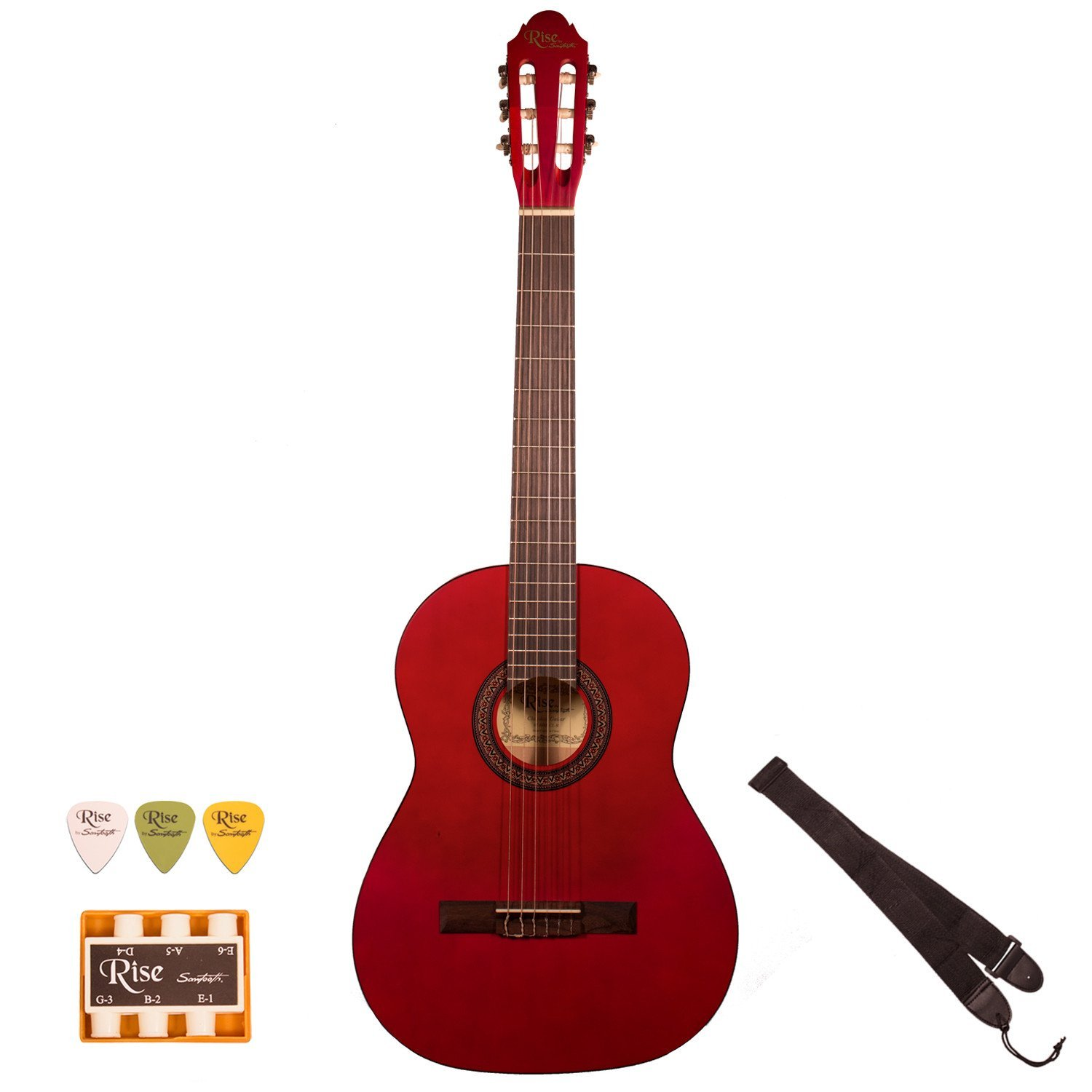 Rise by Sawtooth Full Size Beginner's Acoustic Guitar with Accessories, Satin Red Stain by Sawtooth