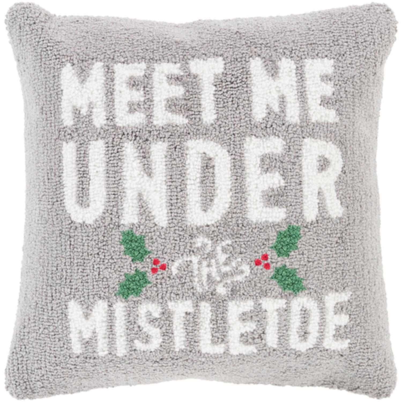 "18"" Ash Gray and Snow White ""MEET ME UNDER THE MISTLETOE"" Throw Pillow –Down Filler"