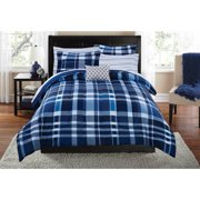 Mainstays Luxe Plaid 7-8 Piece Bed in a Bag Bedding Comforter Set with BONUS Sheet Set and Throw Pillow
