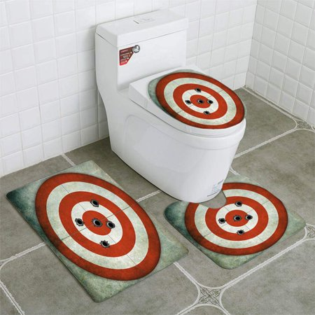 Enjoyable Gohao Red And White Circular Target Bullet Holes 3 Piece Bathroom Rugs Set Bath Rug Contour Mat And Toilet Lid Cover Customarchery Wood Chair Design Ideas Customarcherynet