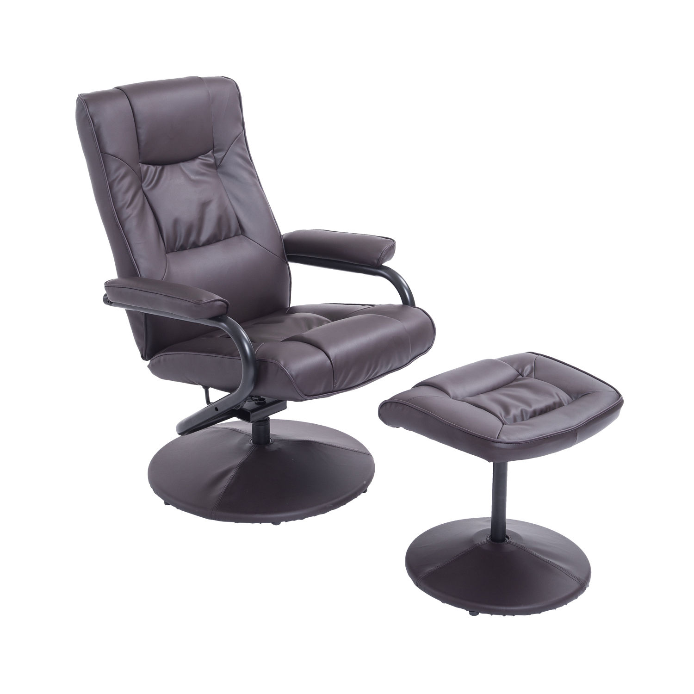 HomCom Ergonomic Faux Leather Lounge Armchair Recliner And Ottoman Set Dark Brown