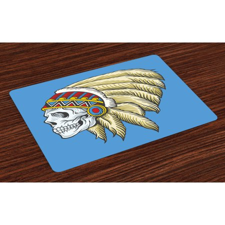 Tribal Placemats Set of 4 Native American Dead Skull with Feathers Tattoo Folk Aztec Pattern, Washable Fabric Place Mats for Dining Room Kitchen Table Decor,Violet Blue Cream Pearl, by Ambesonne (Centerpieces With Feathers And Pearls)