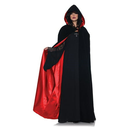 Adult Velvet and Red Satin Deluxe Cape