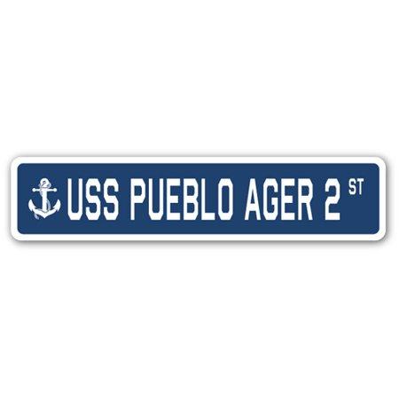 USS PUEBLO AGER 2 Street Sign us navy ship veteran sailor (Pueblo Mall)