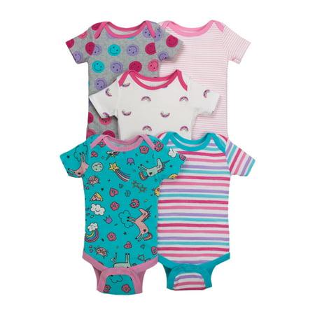 Little Star Organic Newborn Baby Girl Assorted Short Sleeve Bodysuit, 5-pack