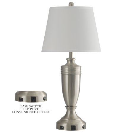Brush Steel Finish (Metal Table Lamp with Outlet - Brushed Steel Finish - White Hardback)